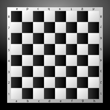 opponent: Chess Board black and white closeup on a grey background. Vector illustration.