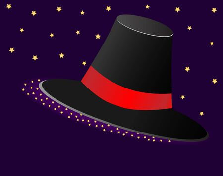 asterisks: Magic hat with a Red Ribbon and asterisks on purple background. Vector illustration. Illustration