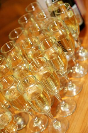 Glasses with champagne on the table close-up Stock Photo