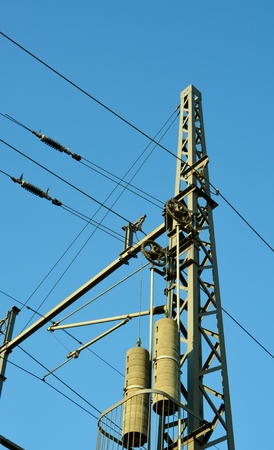 power cables: Industrial power cables against blue sky Stock Photo