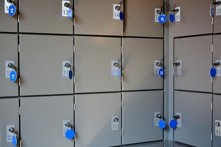 checkroom: Secure and safe metal lockboxes with keys for storage of luggage