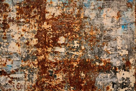 Grunge rusty metal surface as colorful abstract background