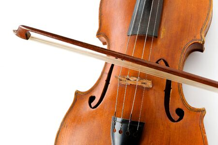 virtuoso: Close-up of a violin with a bow
