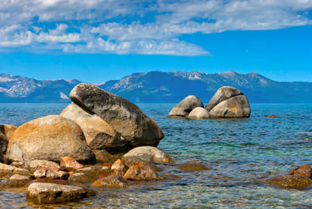 tahoe: Stones in the water at Lake Tahoe in the summer day