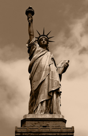 liberty island: Sepia image of the Statue of Liberty in New York