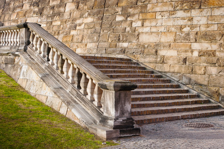 Old stone staircase in an urban environment