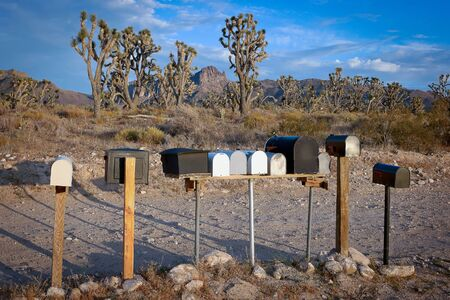 postman of the desert: Mailboxes in a small town in Nevada