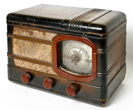 the outmoded: An old radio on a white background