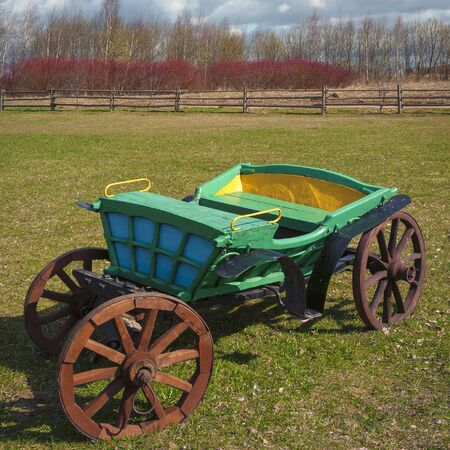 Old horse wagon standing on a rural farm