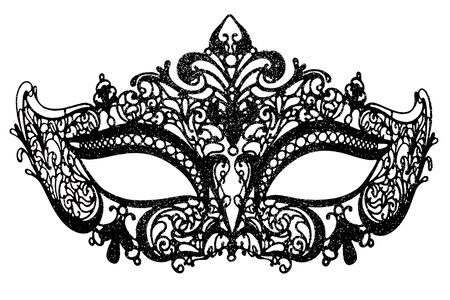 the outmoded: Black carnival mask on a white background