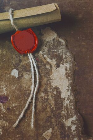 sealing: Old manuscript with sealing wax stamp from