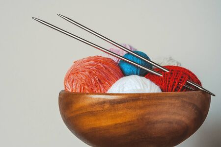 spokes: Colored thread for knitting with spokes Stock Photo