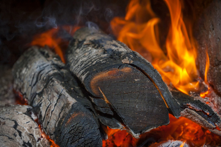 fireplace home: Flames burning wood in your home fireplace