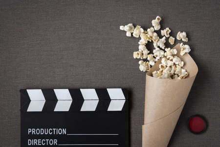 Clapperboard, popcorn bag and red filter removed from above