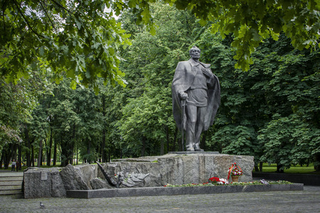 poems: Minsk, Belarus, -July 7: Monument to Belarusian poet Yanka Kupala is removed after laying flowers in honor of the classics 135th birthday on July 7, 2017 Stock Photo