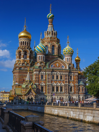 Church of the Savior on Spilled Blood in St. Petersburg, filmed from the embankment of the Griboedov Canal on a sunny summer day