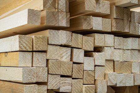 Lumber at a sawmill. Wood timber