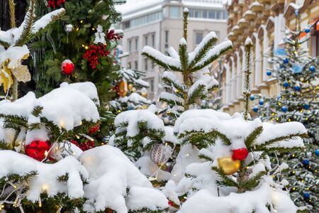 The Christmas tree is decorated with different New Year's toys and a garland. Branches of spruce covered with a layer of snow. Facades of buildings, cityscape in the background. Фото со стока