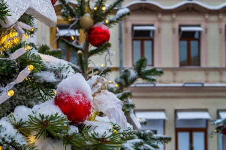 The Christmas tree is decorated with different New Year's toys and a garland. Branches of spruce covered with a layer of snow. Facades of buildings, cityscape in the background. Banque d'images