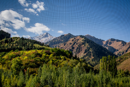 A mountain view on the way to the Great Almaty Lake.   photo