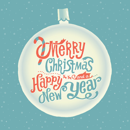 Merry Christmas and Happy New Year Greeting card with Handlettering Typography Vector