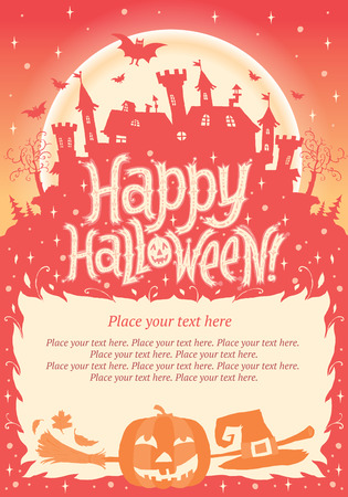 Happy Halloween  Halloween poster, card or background for Halloween party invitation Vector