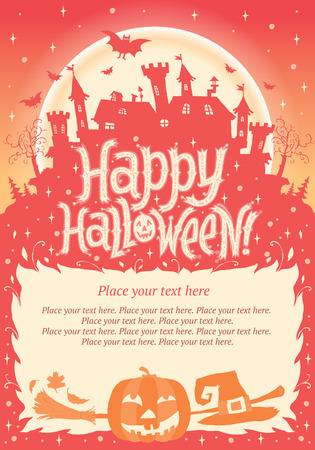 Happy Halloween  Halloween poster, card or background for Halloween party invitation Illusztráció