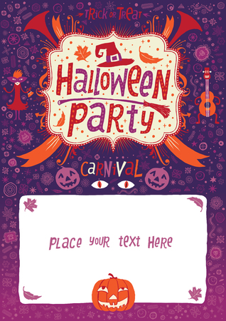 Halloween Party. Carnival. Halloween poster, card or background for Halloween party invitation Vector