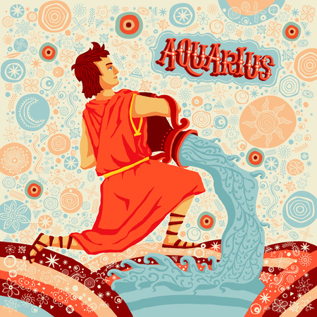 classical mythology character: Astrological zodiac sign Aquarius. Part of a set of horoscope signs. Vector illustration.