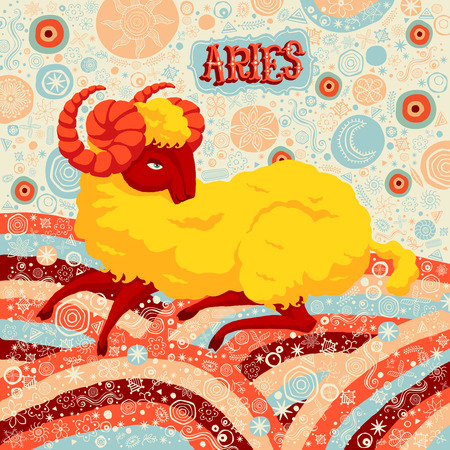 classical mythology character: Astrological zodiac sign Aries. Part of a set of horoscope signs. Vector illustration.