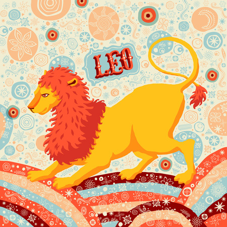 classical mythology character: Astrological zodiac sign Leo or Lion. Part of a set of horoscope signs. Vector illustration.