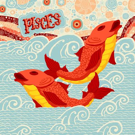 signes du zodiaque: Astrologique de zodiaque signe des Poissons. Partie d'un ensemble de signes d'horoscope. Vector illustration.