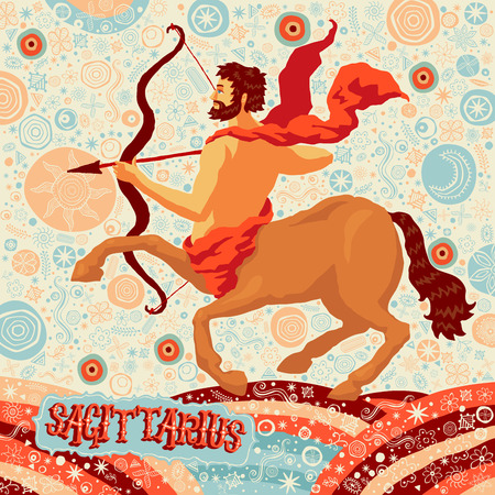 the art of divination: Astrological zodiac sign Sagittarius. Part of a set of horoscope signs. Vector illustration.
