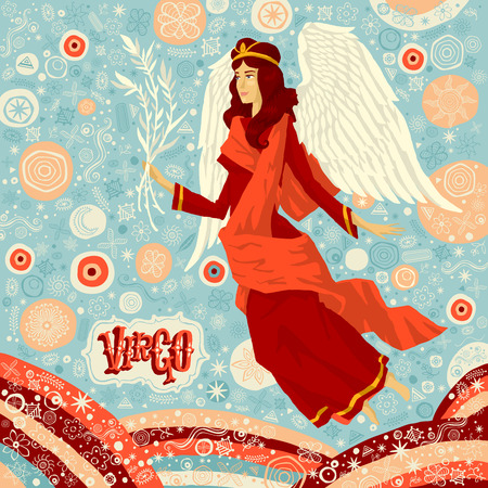 classical mythology character: Astrological zodiac sign Virgo. Part of a set of horoscope signs. Vector illustration.