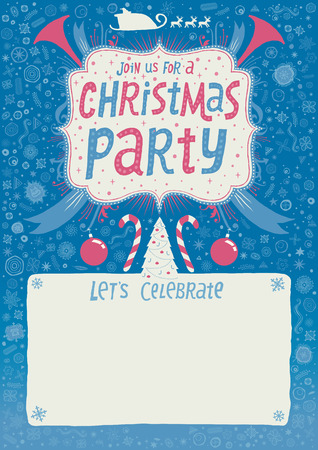 Christmas Party invitation, greeting card, poster or background with hand lettering typography. Author\\ Vector
