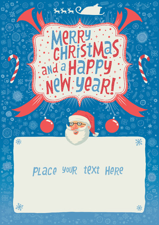 Merry Christmas and a Happy New Year Greeting card, poster or background for party invitation with hand lettering typography. Author Vector