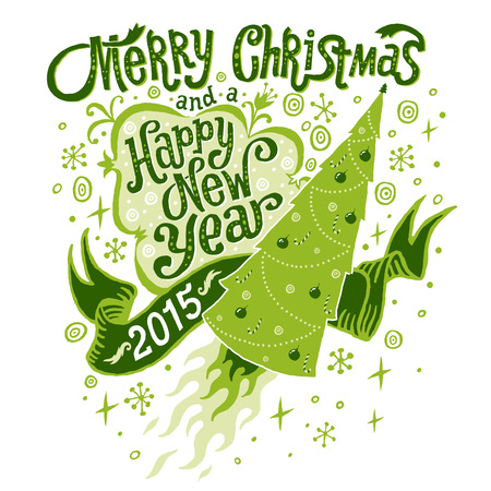 Merry Christmas and Happy New Year 2015 Greeting card, isolated vector illustration, poster, postcard or background Vector