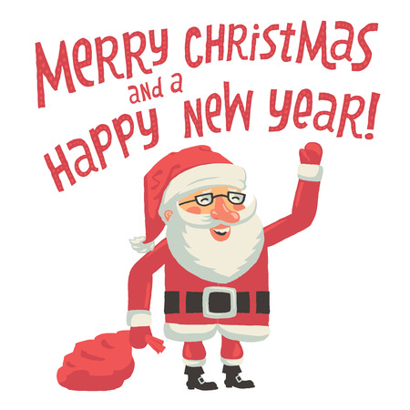 Santa Claus with a bag full of gifts. Merry Christmas and a Happy New Year Greeting card with hand lettering typography. Isolated vector on white background Vector