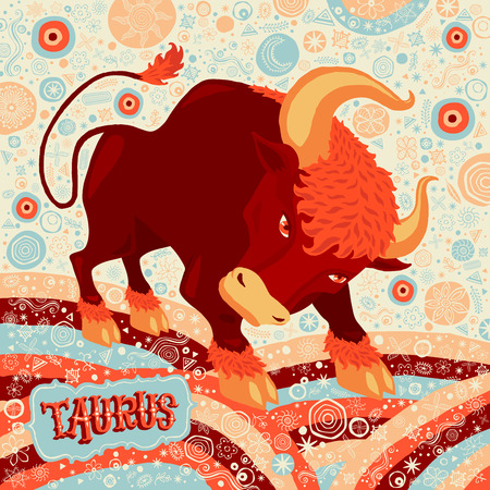 foretelling: Astrological zodiac sign Taurus. Part of a set of horoscope signs. Vector illustration.