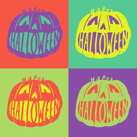 warhol: Happy Halloween. Poster, card, background or invitation in the style of Warhol