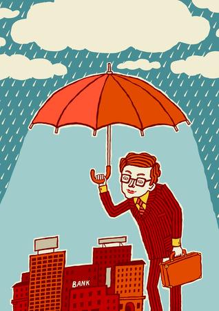haushaltshilfe: Versicherung. Krisenmanagement. Ein Mann mit einem Regenschirm schützt die Stadt. Illustration
