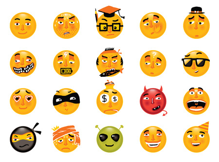 smileys: Vector set of funny smileys. Collection of isolated cartoon vector emoticons