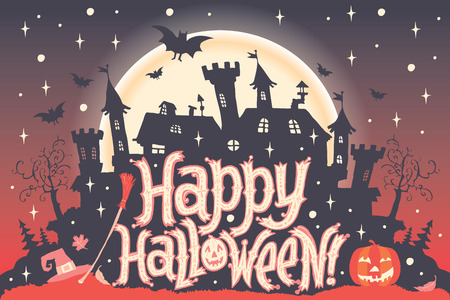 ghosts: Happy Halloween. Halloween poster, card or background for Halloween party invitation Illustration