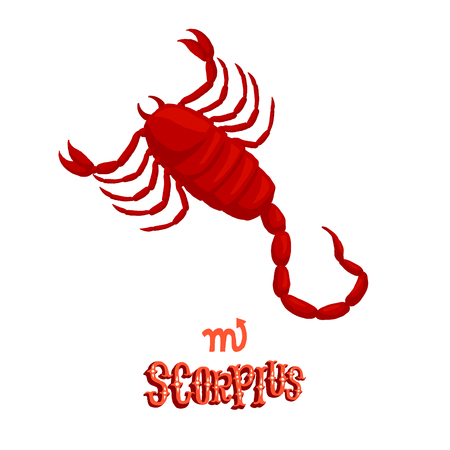 classical mythology character: Astrological zodiac sign Scorpius. Part of a set of horoscope signs. Isolated vector illustration on white background.