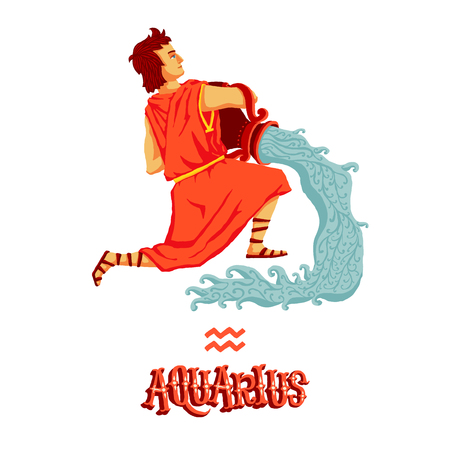 classical mythology character: Astrological zodiac sign Aquarius. Part of a set of horoscope signs. Isolated vector illustration on white background.