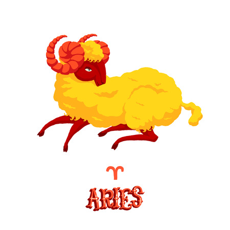 classical mythology character: Astrological zodiac sign Aries. Part of a set of horoscope signs. Isolated vector illustration on white background.