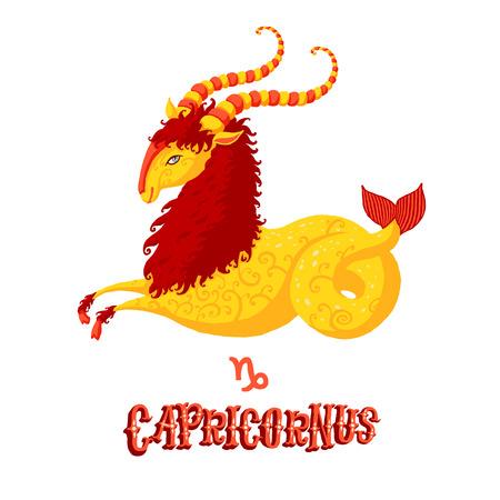 astrologie: Astrologisches Tierkreiszeichen Steinbock. Teil einer Reihe von Horoskopzeichen. Isolierten Vektor-Illustration auf weißem Hintergrund. Illustration