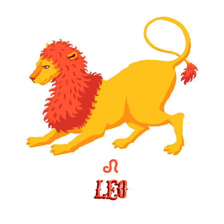 Astrological zodiac sign Leo or Lion. Part of a set of horoscope signs. Isolated vector illustration on white background. Illustration