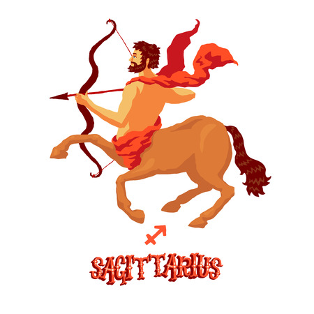classical mythology character: Astrological zodiac sign Sagittarius. Part of a set of horoscope signs. Isolated vector illustration on white background.
