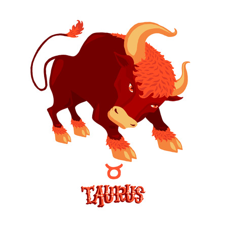 Astrological zodiac sign Taurus. Part of a set of horoscope signs. Isolated vector illustration on white background.